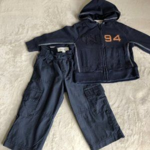 2 pc boys zip hoodie pants 18-24 months
